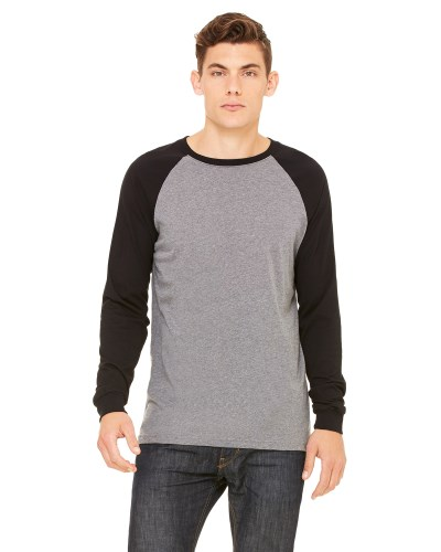 Bella + Canvas 3000C Men's Jersey Long-Sleeve Baseball T-Shirt