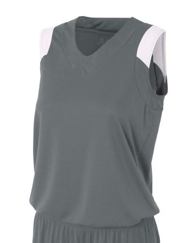 Ladies' Moisture Management V Neck Muscle Shirt