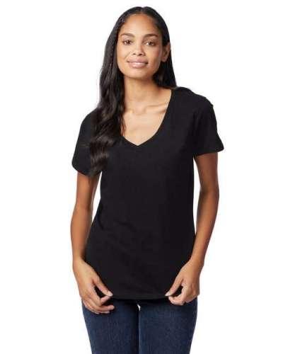 Hanes S04V Ladies Ringspun Cotton Nano-T V-Neck T-Shirt