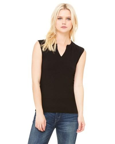 Ladies' Cotton/Spandex Slit-V Raglan T-Shirt