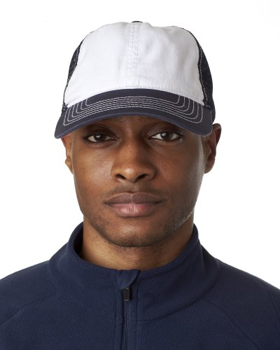 UltraClub 8114 Adult Classic Cut Brushed Cotton Twill Unstructured Trucker Cap