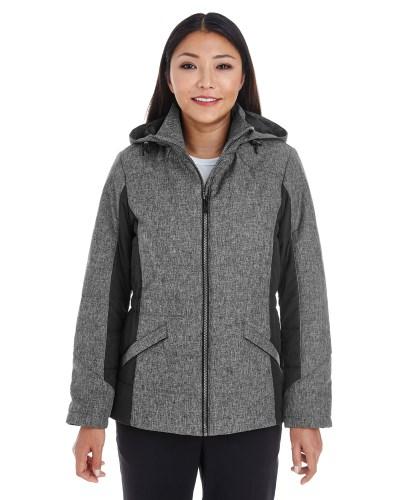 Ladies' Midtown Insulated Fabric-block Jacket with Crosshatch Melange