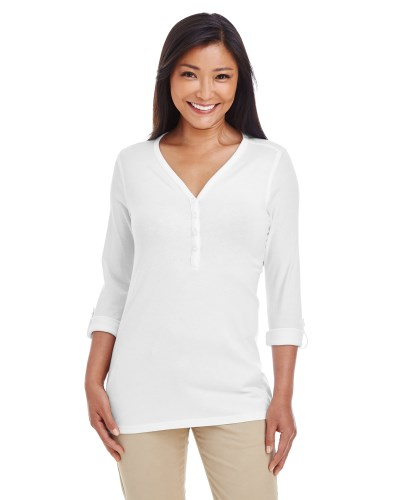 Ladies' Perfect Fit™ Y-Placket Convertible Sleeve Knit Top
