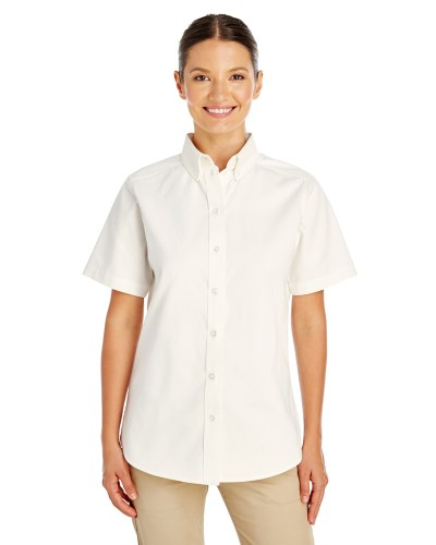 Ladies' Foundation 100% Cotton Short-Sleeve Twill Shirt Teflon