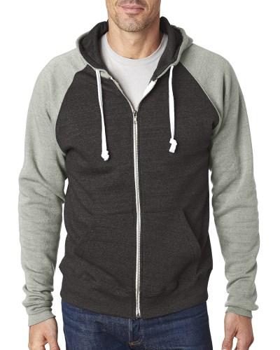 Adult Triblend Colorblock Full-Zip Fleece Hood