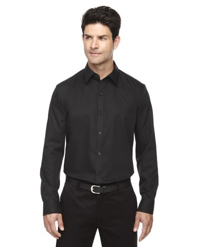 Men's Boulevard Wrinkle-Free Two-Ply 80's Cotton Dobby Taped Shirt with Oxford Twill