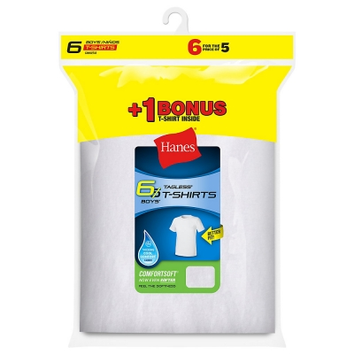 Hanes Boys TAGLESS Crewneck Undershirt 6-Pack (Includes 1 Free Bonus Undershirt)