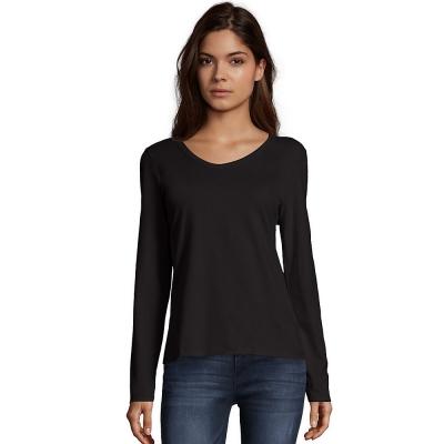 Hanes Womens Long-Sleeve V-Neck T-Shirt