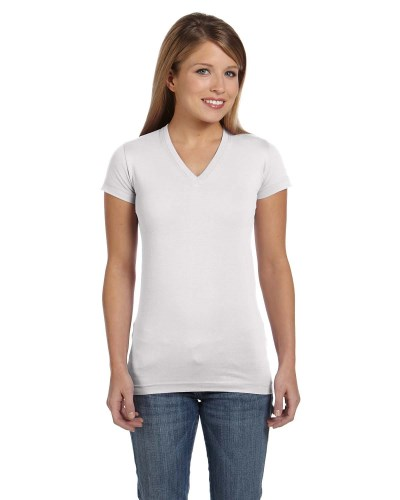 Ladies' Junior Fit V-Neck Fine Jersey T-Shirt