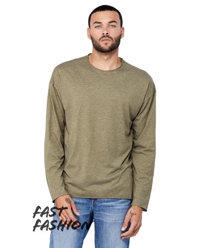 Fast Fashion Unisex Triblend Raw Neck Long-Sleeve T-Shirt