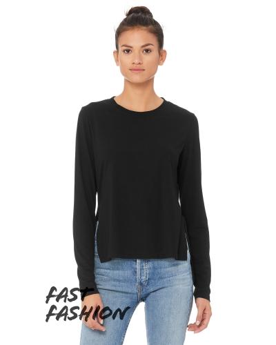 Fast Fashion Ladies' Side Slit Long-Sleeve T-Shirt