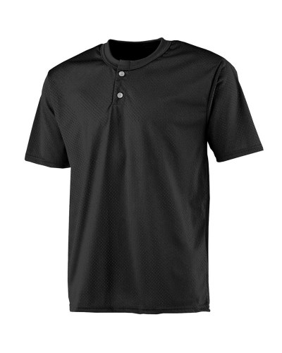 Adult 2-Button Mesh Henley Jersey