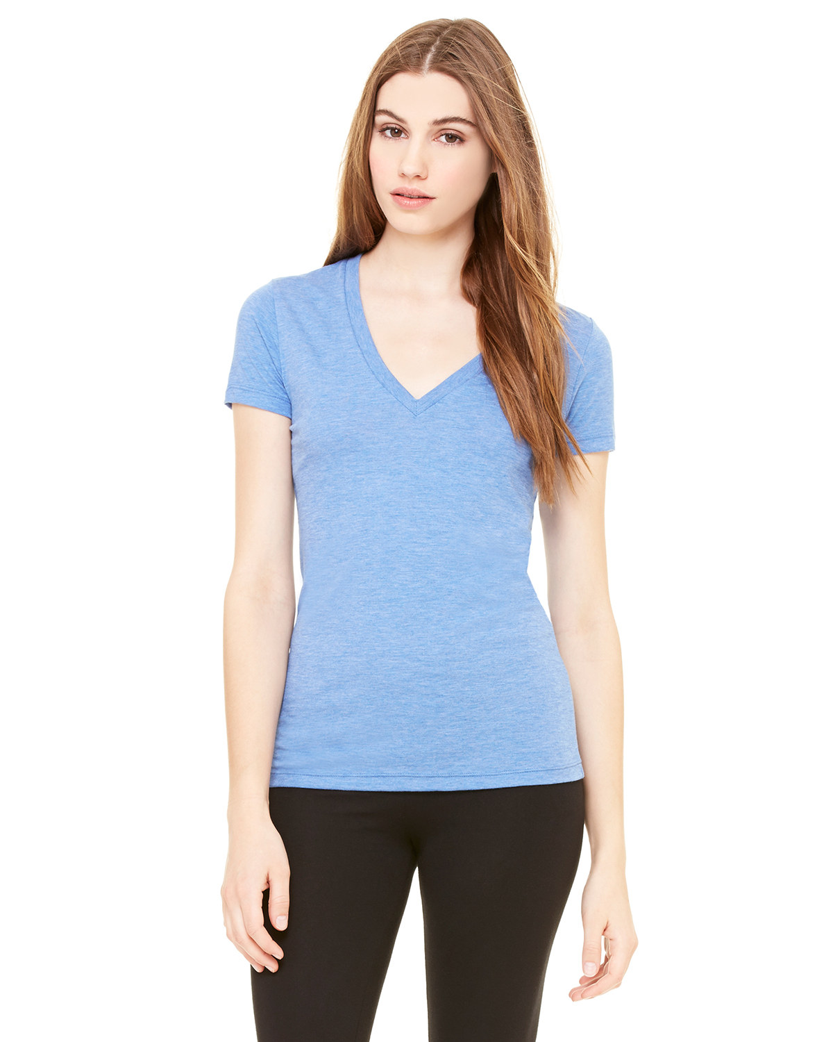 Ladies' Triblend Short-Sleeve Deep V-Neck T-Shirt
