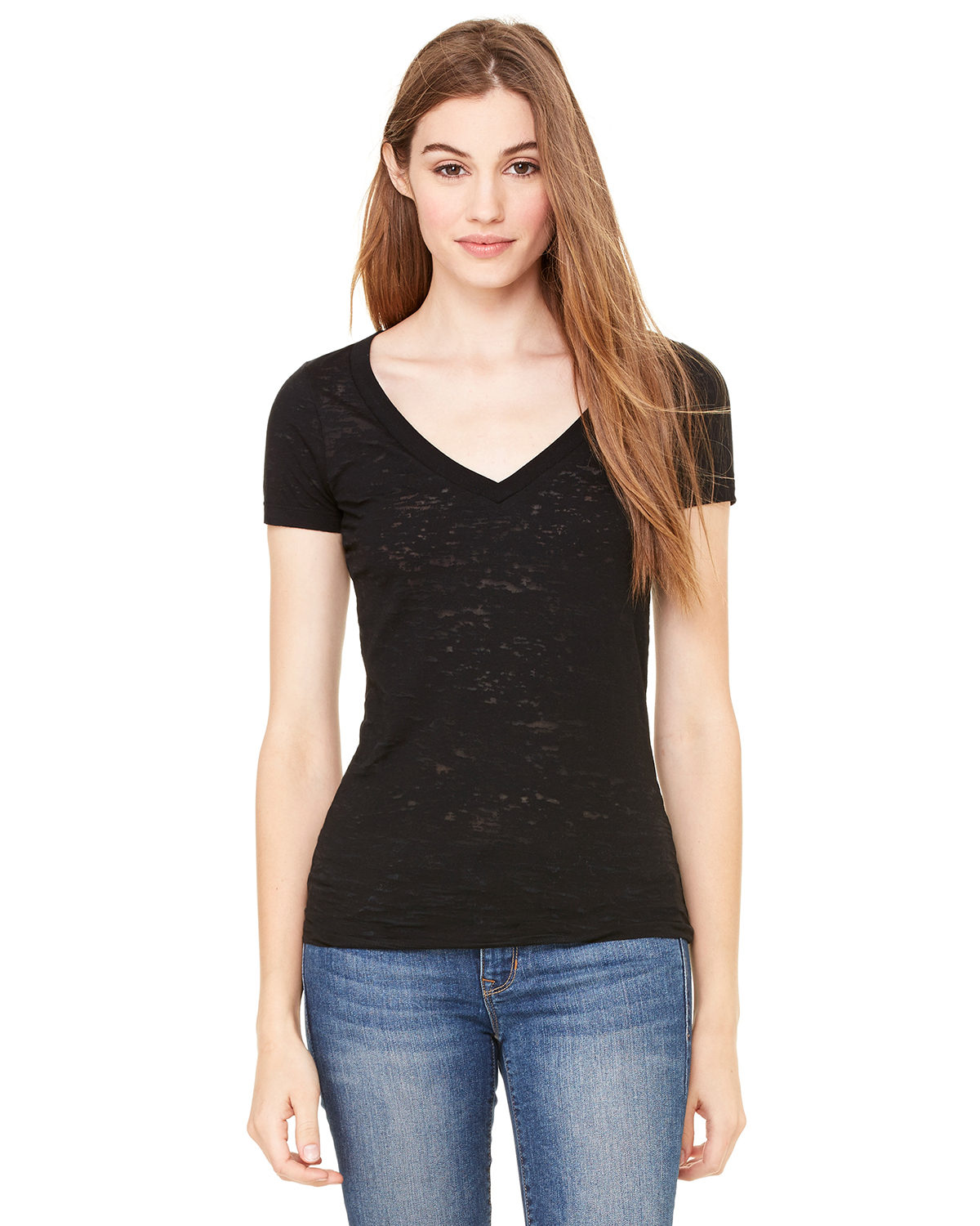 Ladies' Burnout Short-Sleeve V-Neck T-Shirt