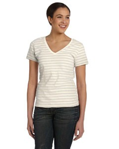 Ladies' Ringspun Striped V-Neck T-Shirt