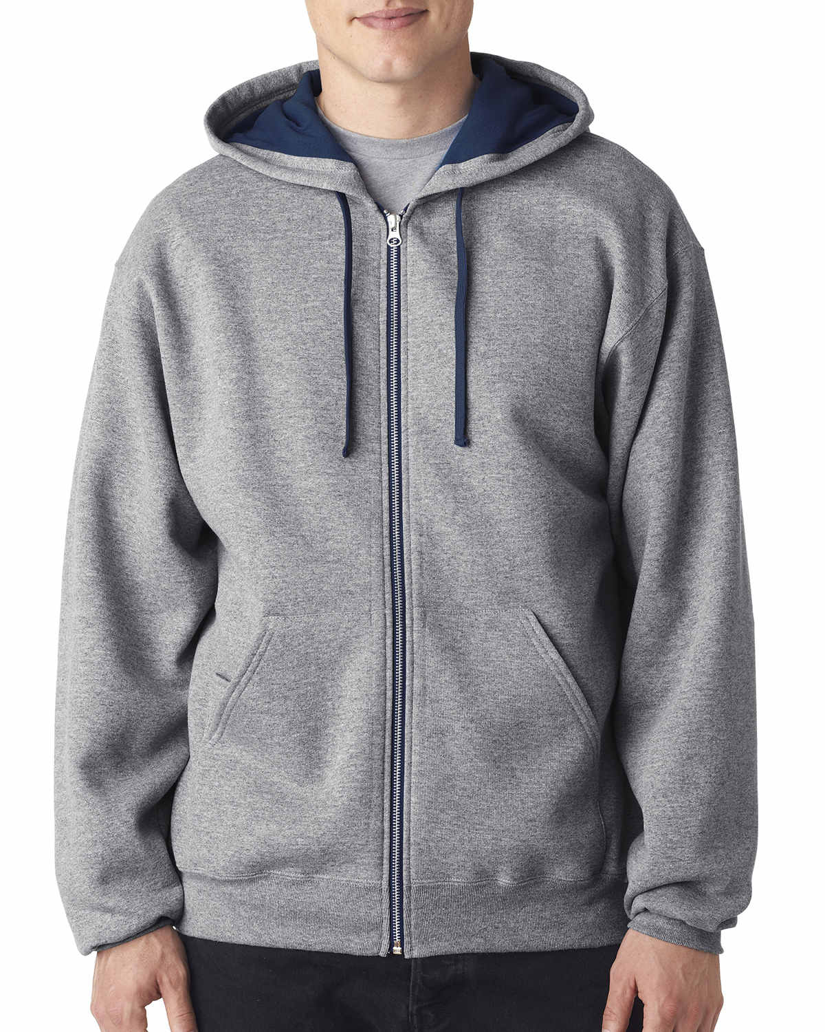 Adult 8 oz. NuBlend® Contrast Full-Zip Hood