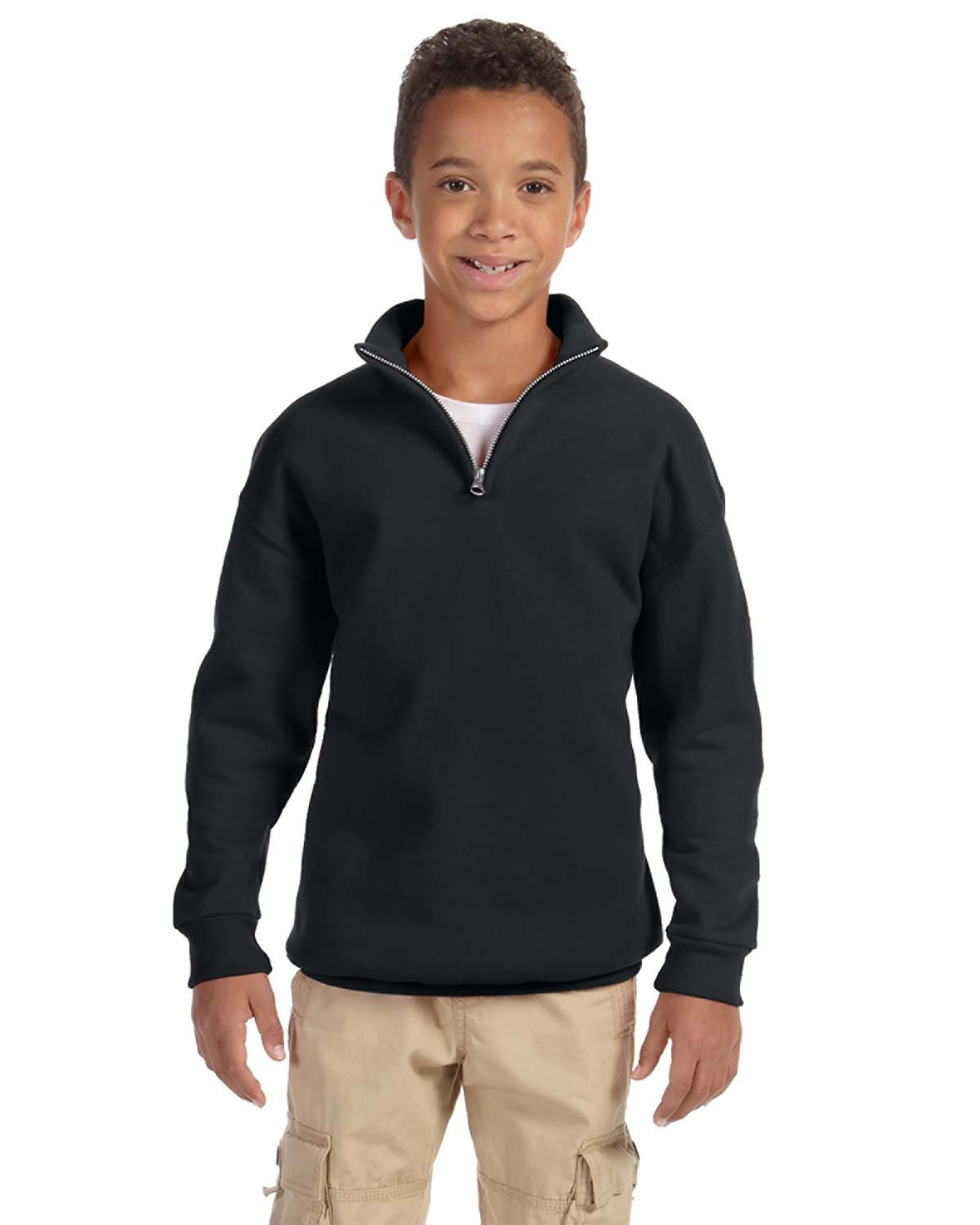 Youth 8 oz. NuBlend® Quarter-Zip Cadet Collar Sweatshirt