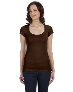 Ladies' Sheer Mini Rib Short-Sleeve Scoop Neck T-Shirt