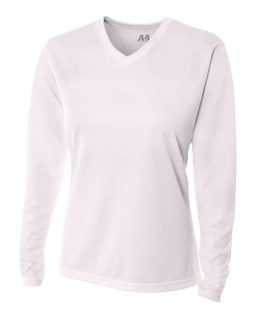 Ladies' Birds-Eye Mesh Long Sleeve V-Neck T-Shirt