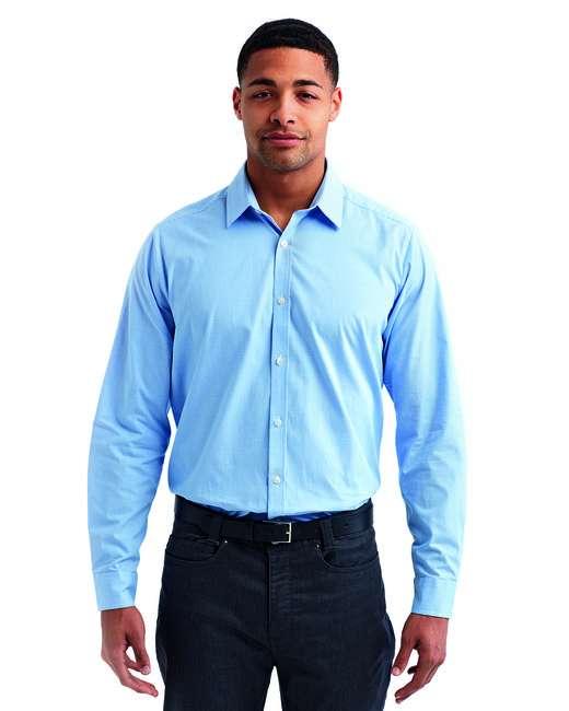 Men's Microcheck Gingham Long-Sleeve Cotton Shirt