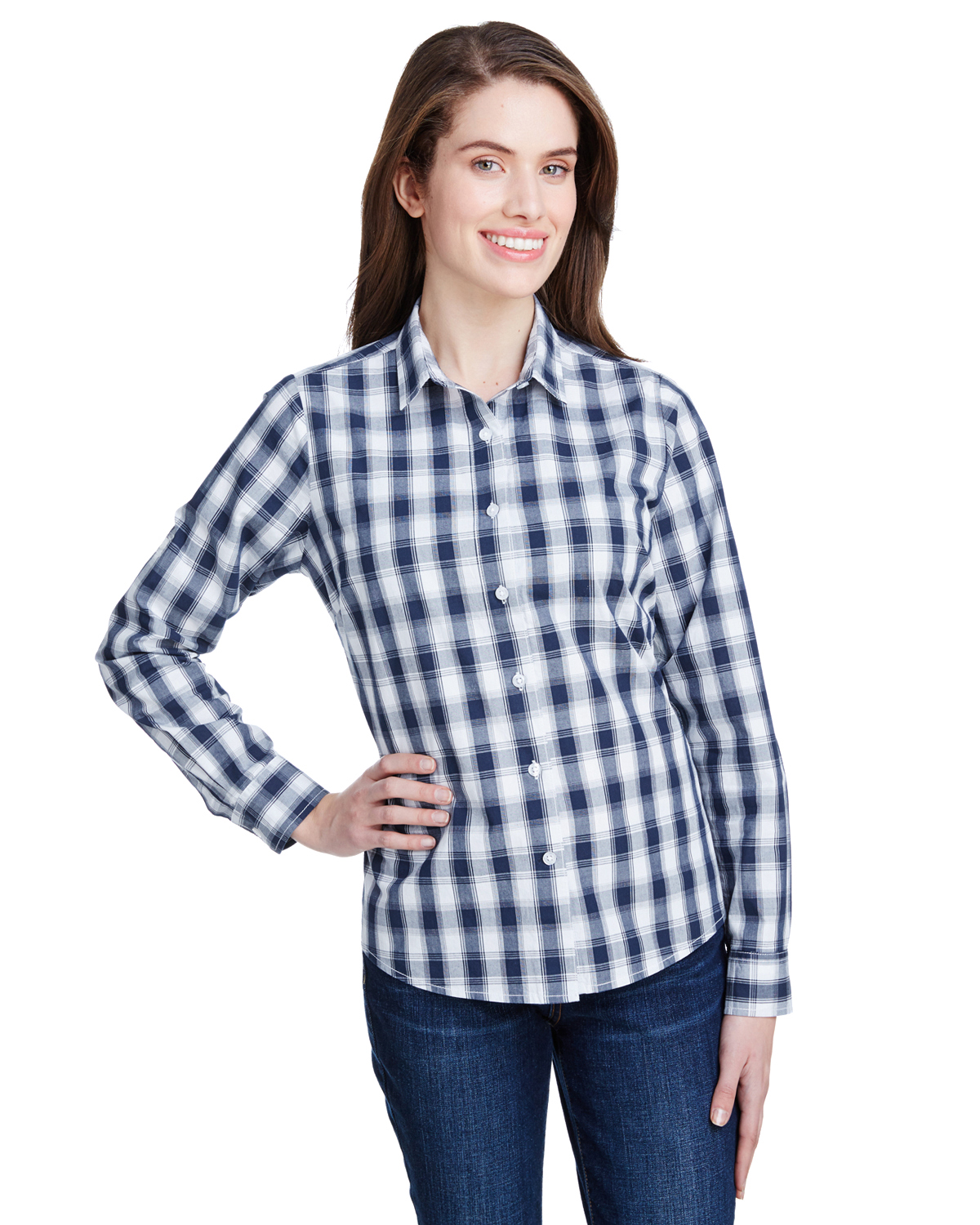 dcaab706ce Artisan Collection by Reprime Ladie's Mulligan Check Long-Sleeve ...