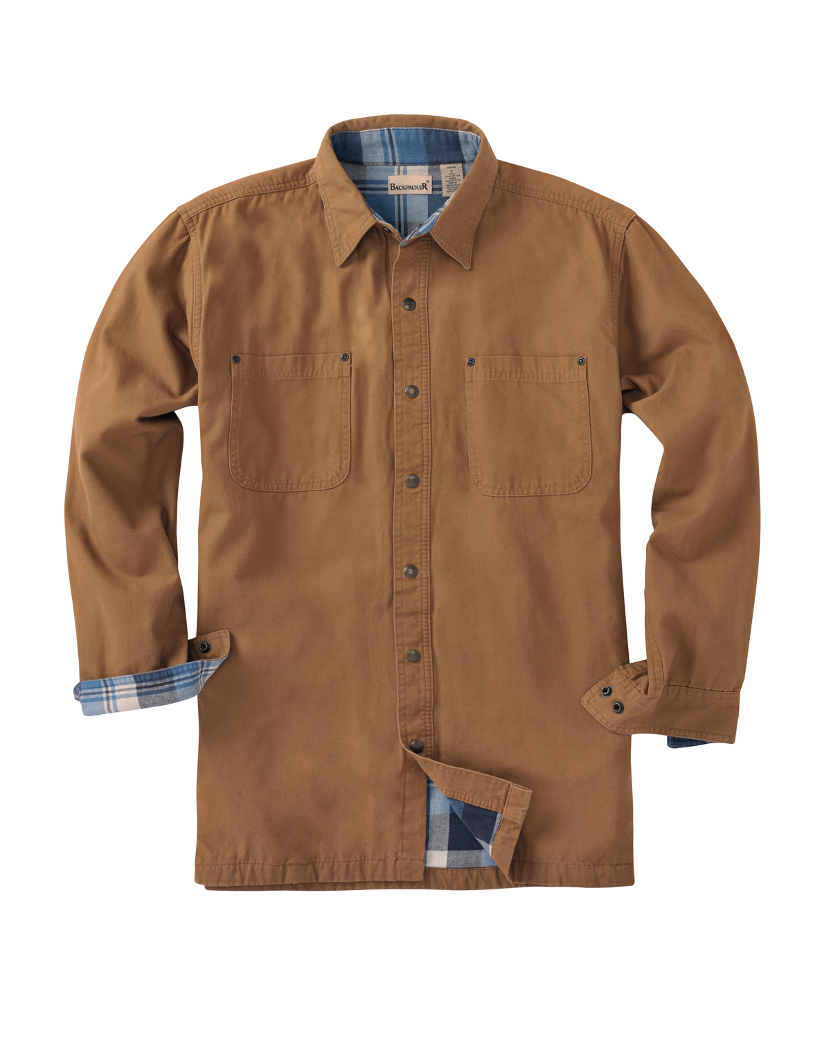 Men's Tall Canvas Shirt Jacket with Flannel Lining