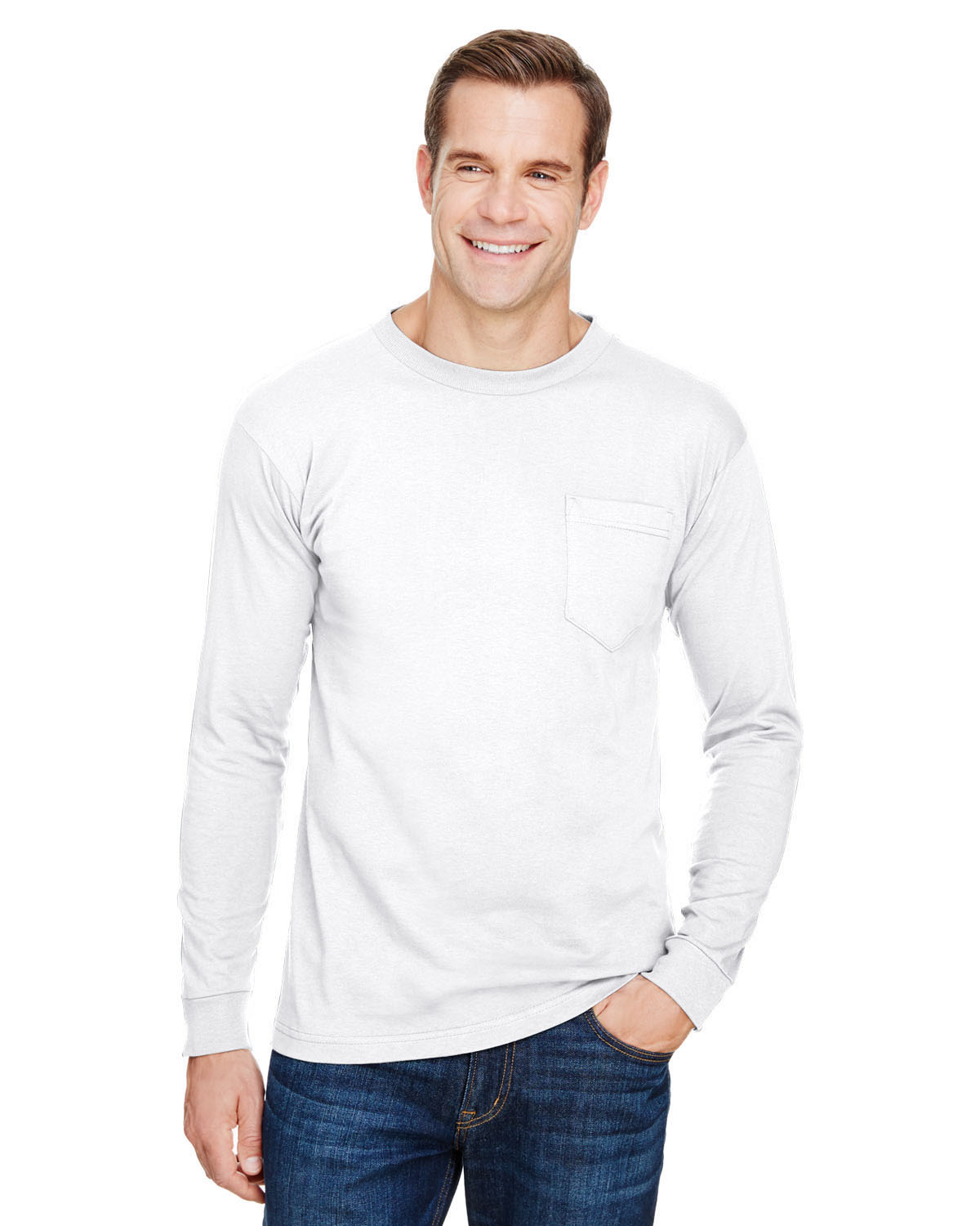 Unisex Union-Made Long-Sleeve Pocket Crew T-Shirt