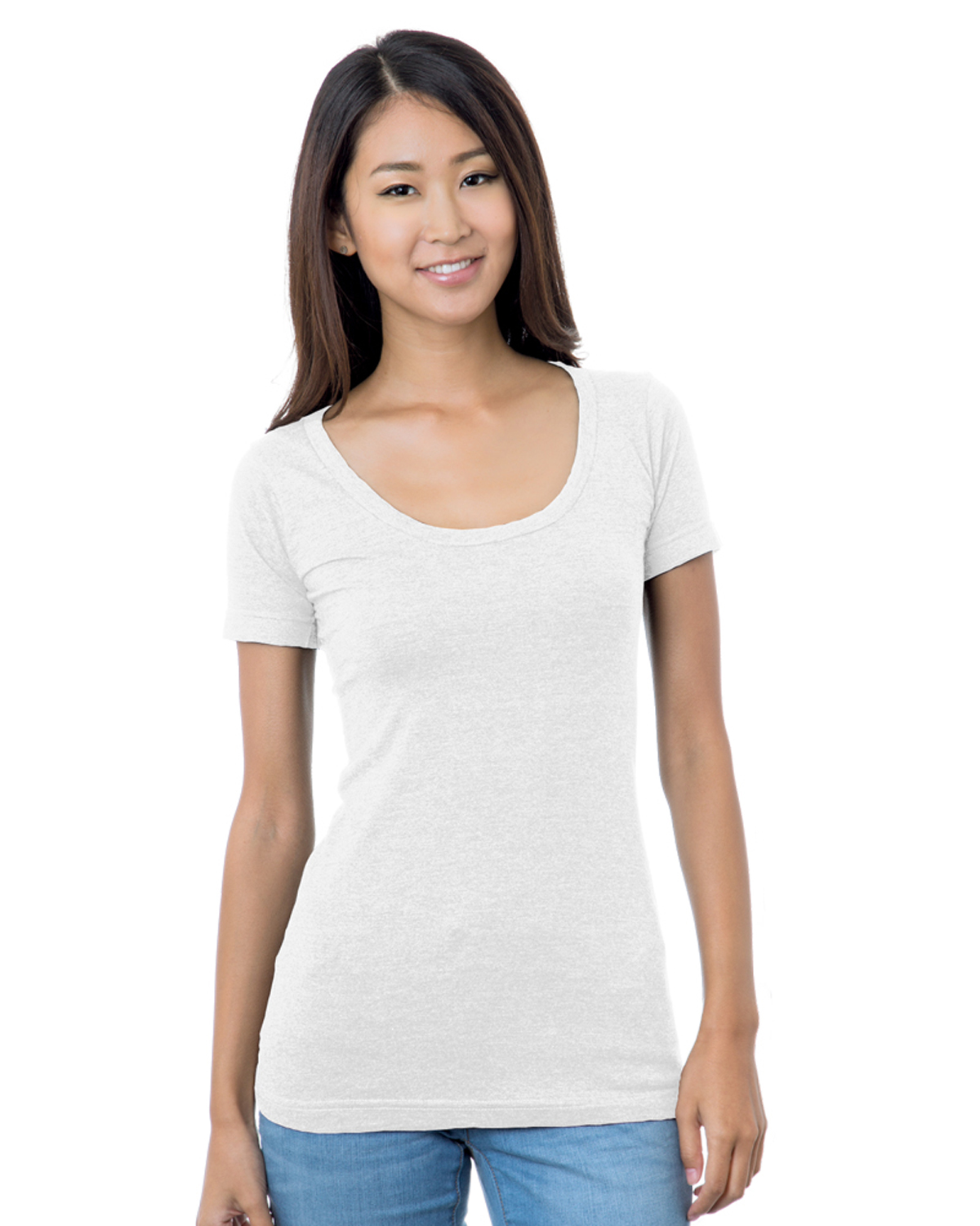 Women's 4.2 oz., Fine Jersey Wide Scoop Neck T-Shirt