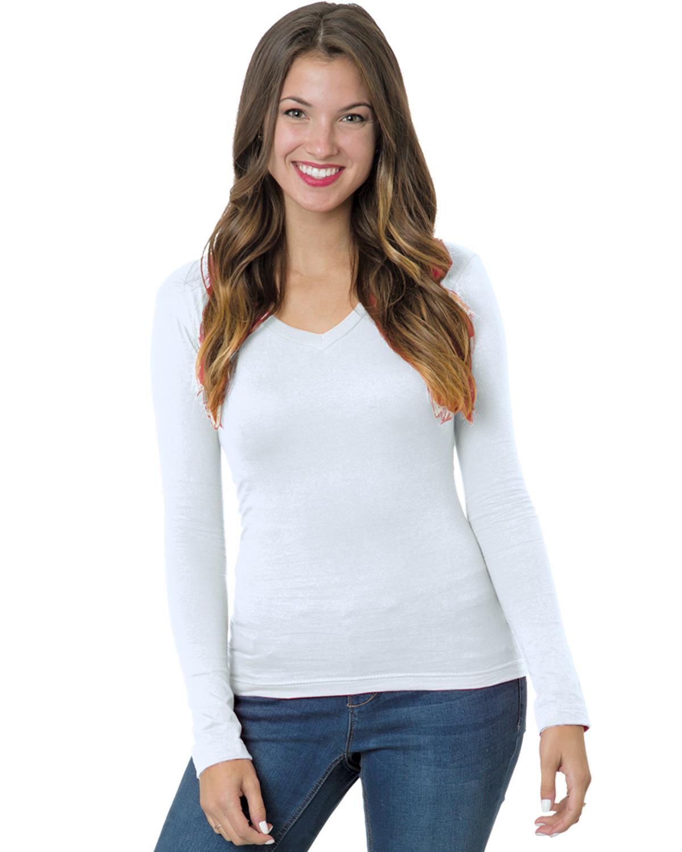 Junior's 4.2 oz.,  Fine Jersey Long-Sleeve V-Neck T-Shirt