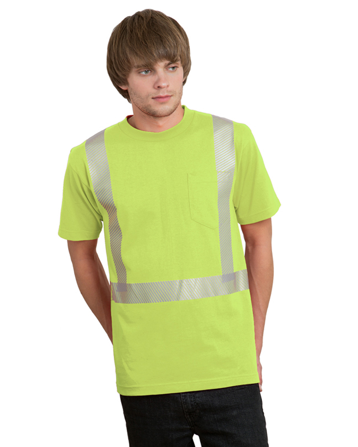 5.4 oz., 50/50 Hi-Visibility Segmanted Striping Pocket T-Shirt