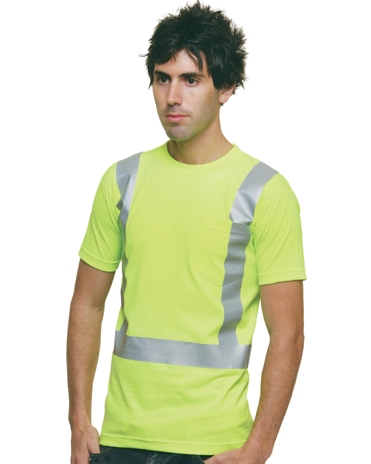USA Made High Visibility Short Sleeve T-Shirt with Pocket