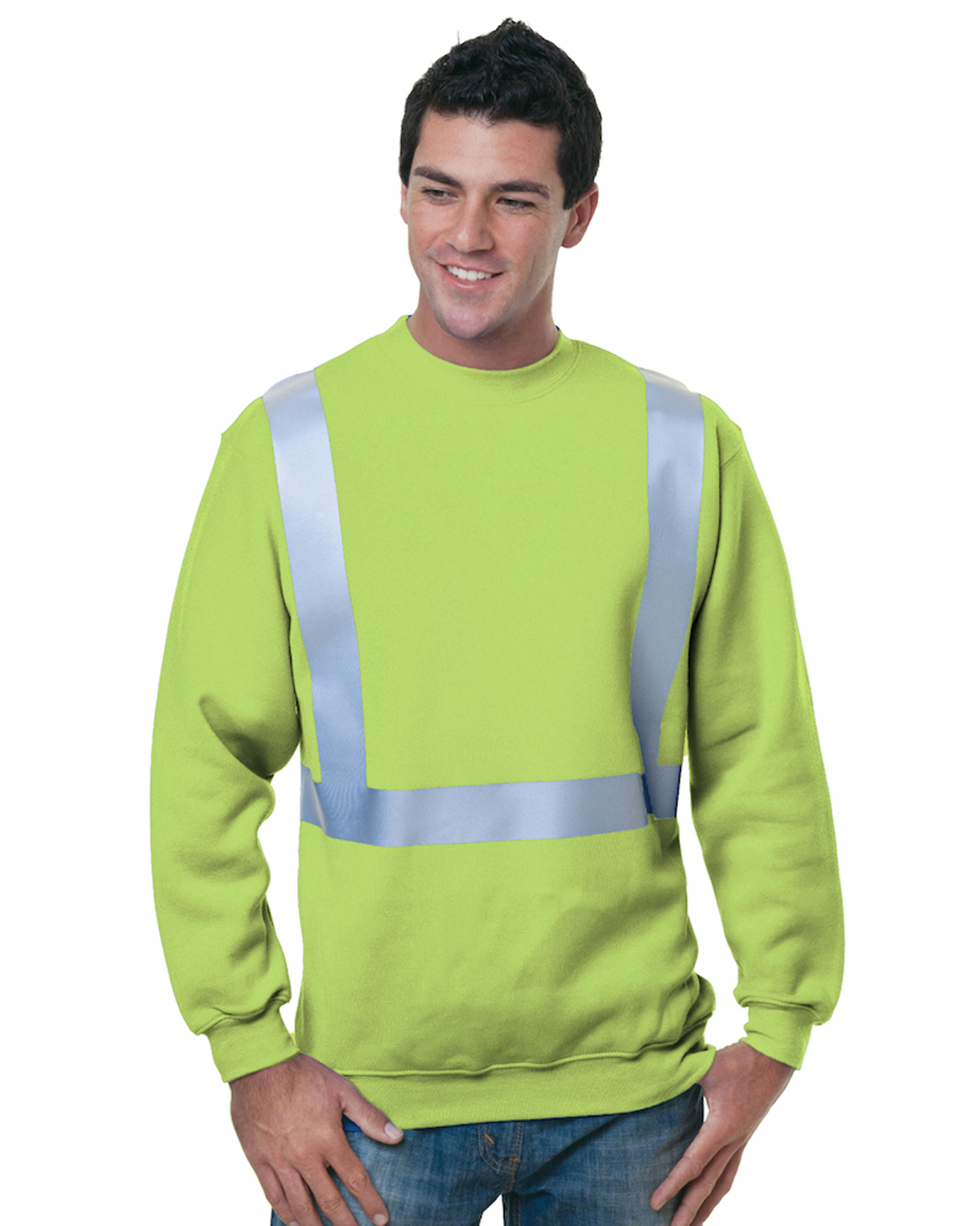 80/20 Heavyweight Hi-Visibility Solid Striping Crewneck Sweatshirt