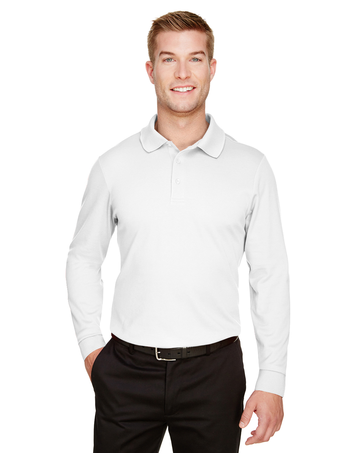 CrownLux Performance Men's Plaited Long Sleeve Polo