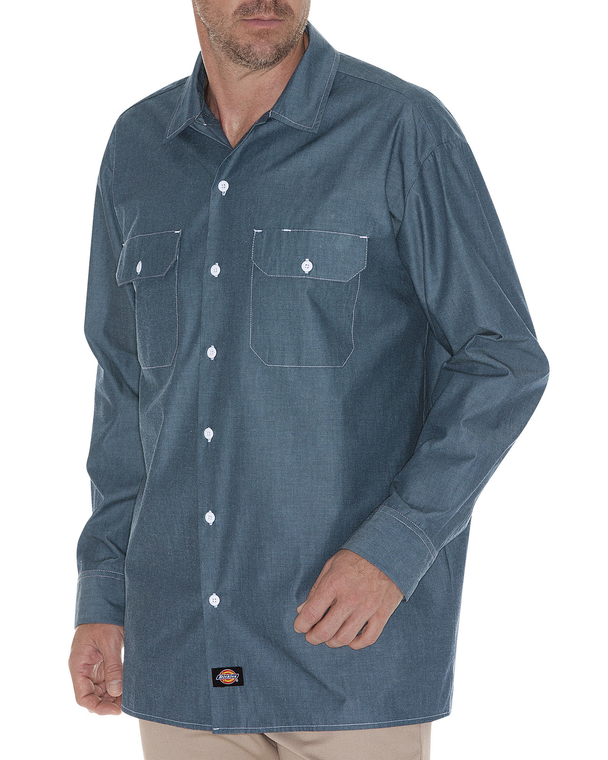Men's Tall Relaxed Fit Long-Sleeve Chambray Shirt