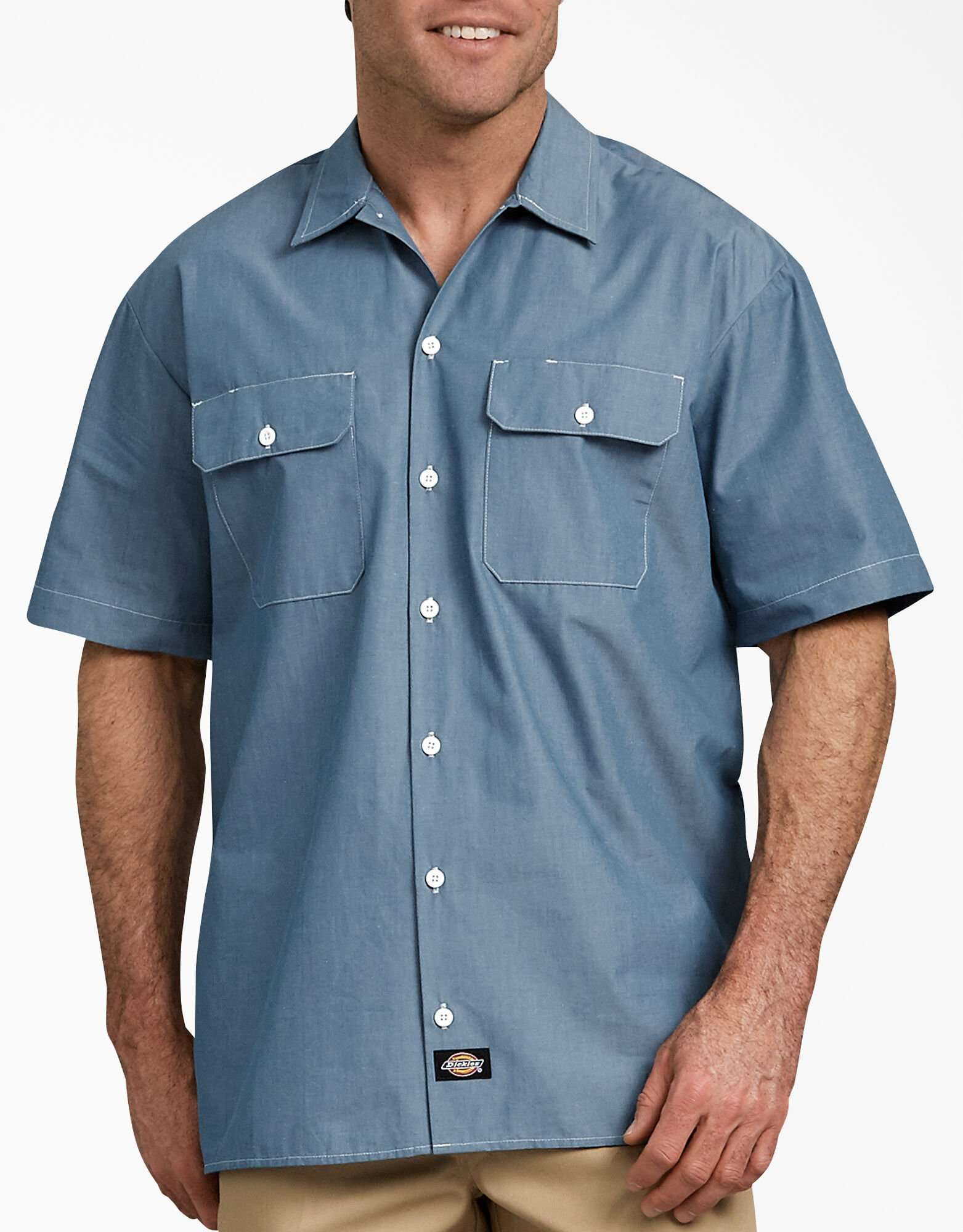 Unisex Relaxed Fit Short-Sleeve Chambray Shirt