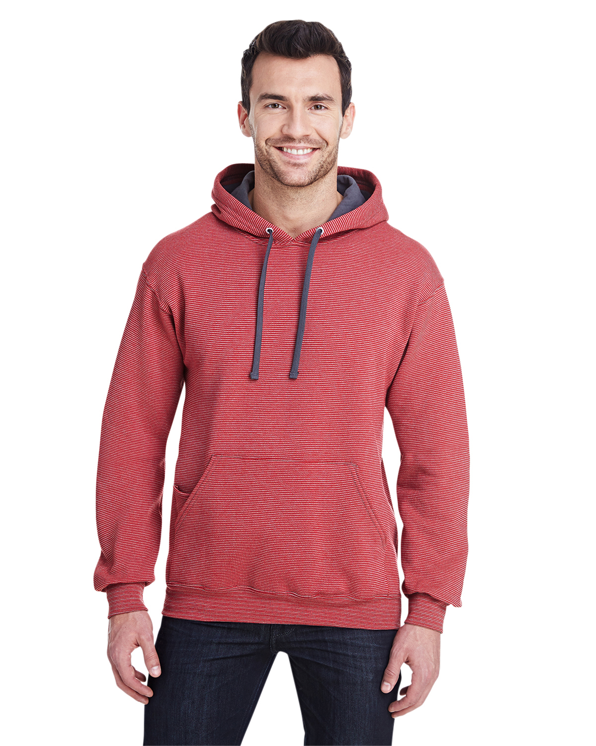 Adult 7.2 oz. Sofspun® Striped Hooded Sweatshirt