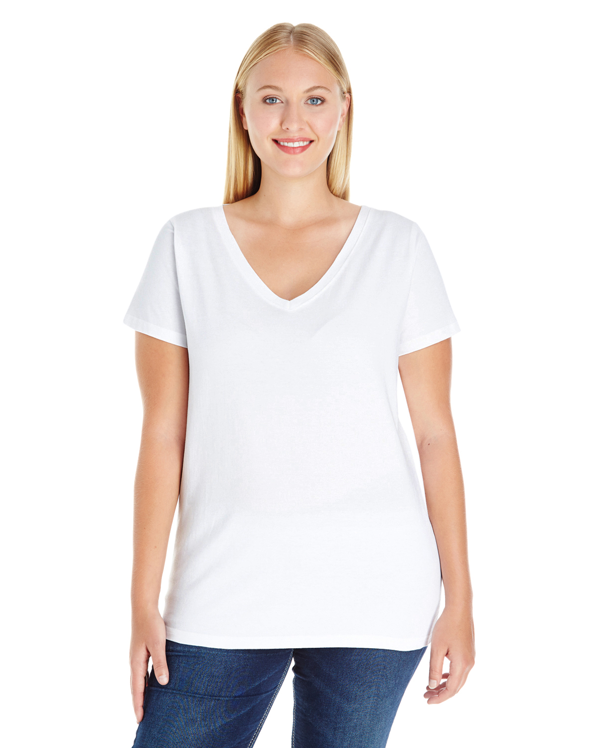 LAT 3807 Ladies Curvy V-Neck Premium Jersey T-Shirt