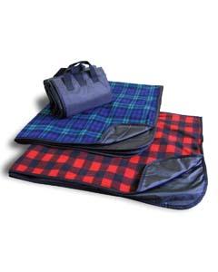 Fleece/Nylon Plaid Picnic Blanket