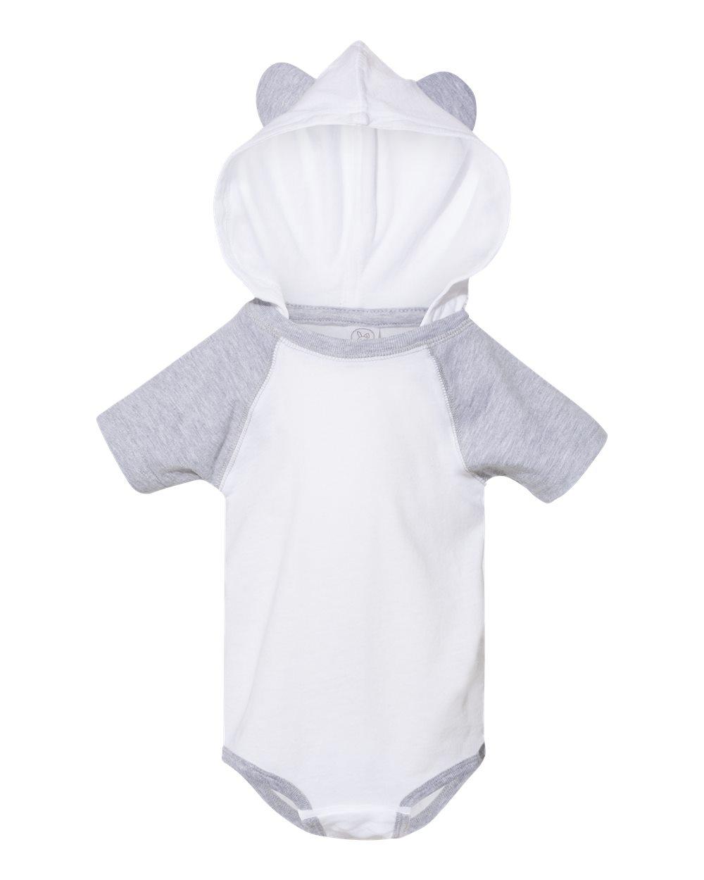 Fine Jersey Infant Short Sleeve Raglan Bodysuit with Hood & Ears