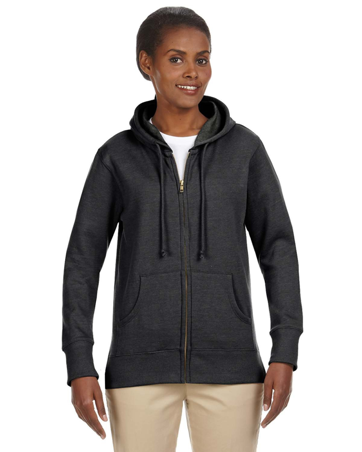 Ladies' 7 oz. Organic/Recycled Heathered Fleece Full-Zip Hood