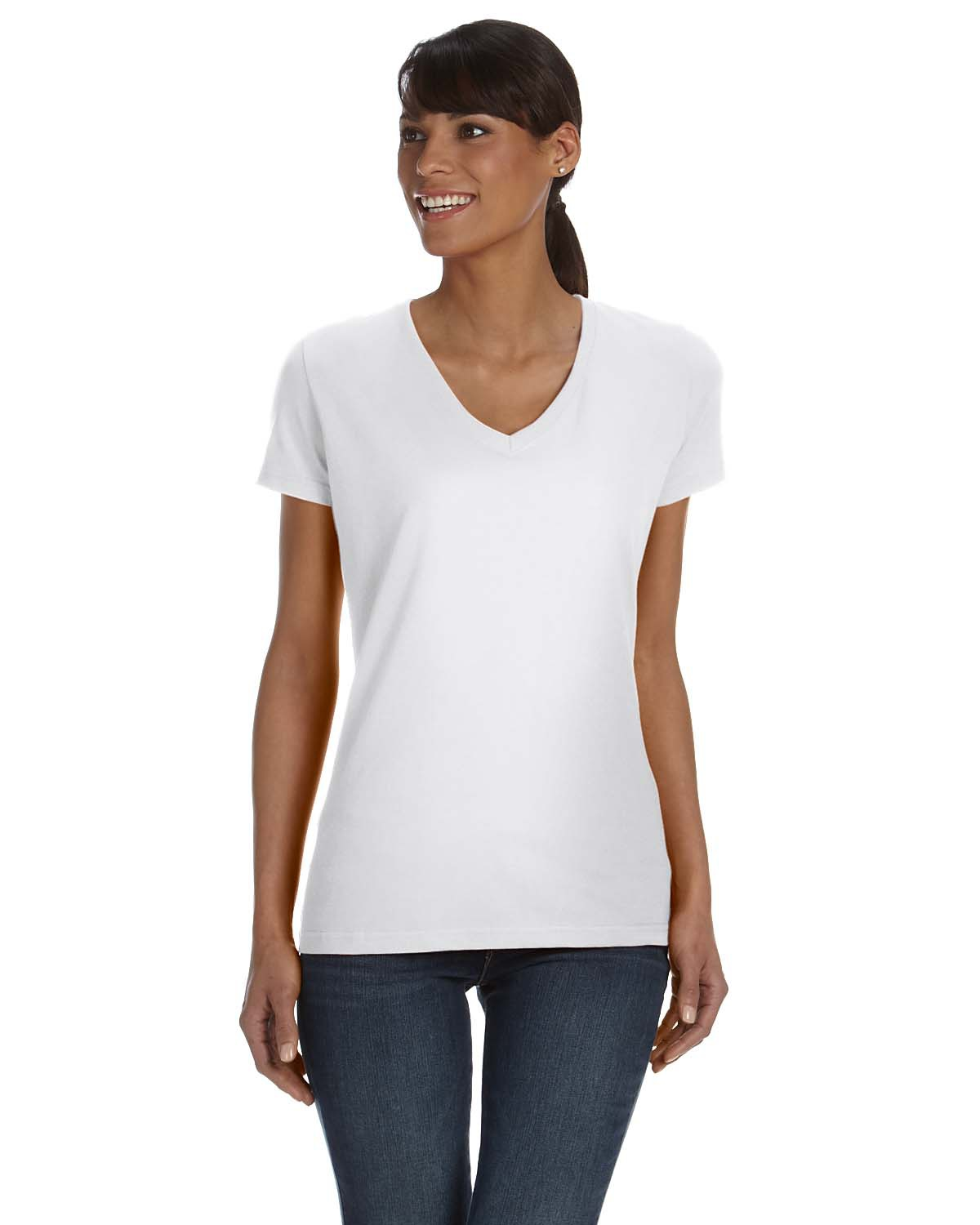 Ladies' 5 oz. HD Cotton™ V-Neck T-Shirt