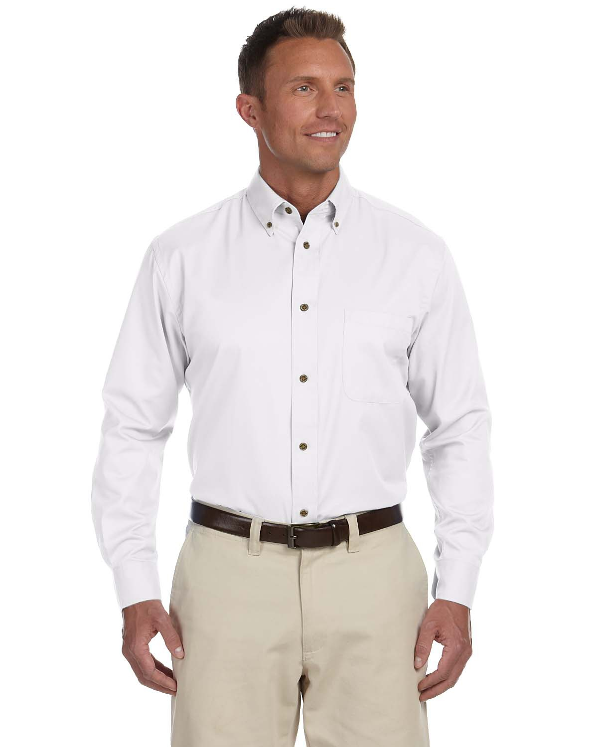 Harriton M500 Men's Easy Blend Twill Shirt with Stain-Release