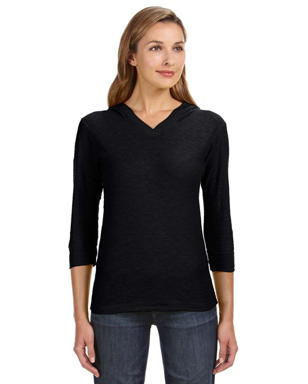 Ladies' 3/4-Sleeve Hooded Slub T-Shirt
