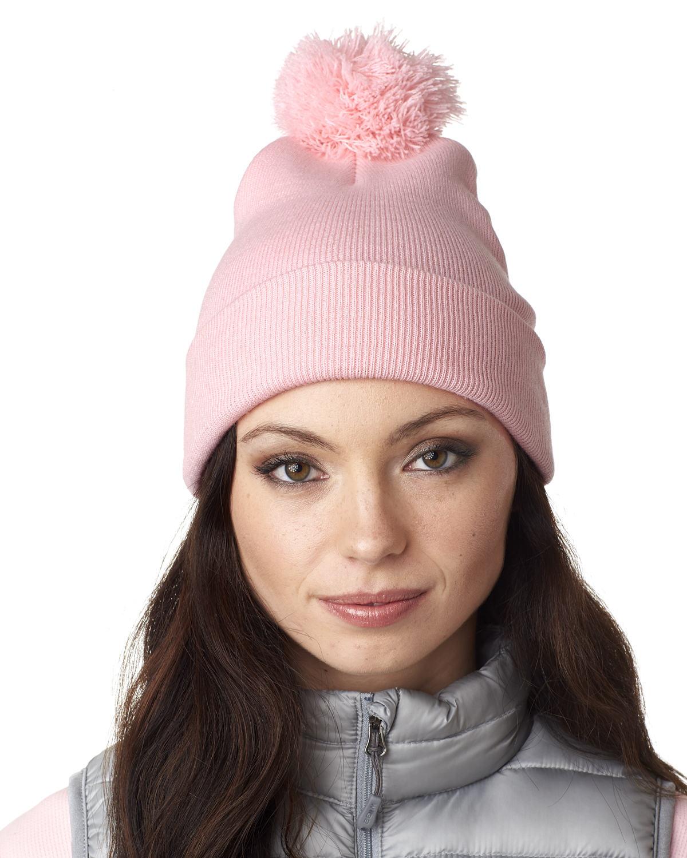 Adult Knit Pom-Pom Beanie with Cuff
