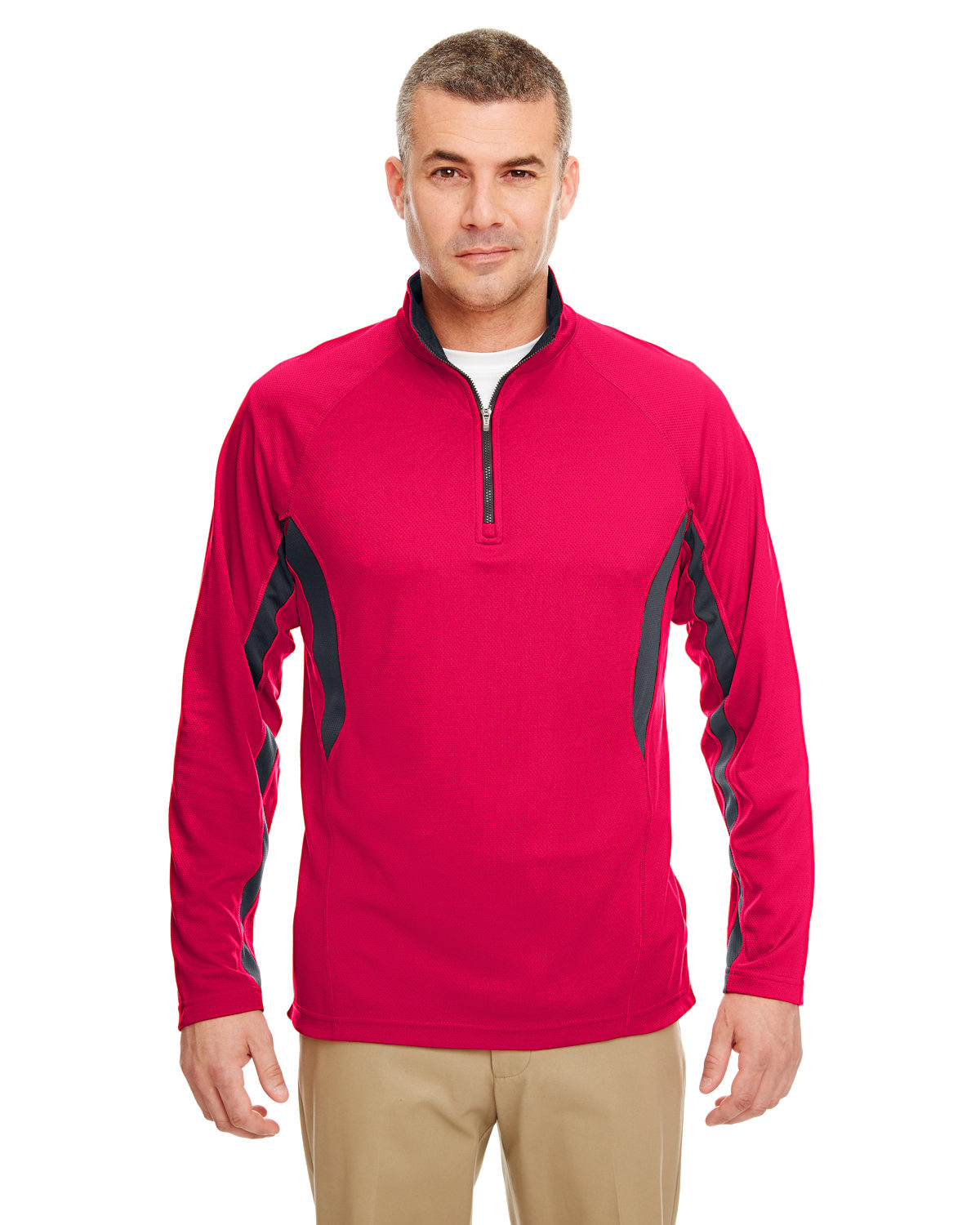 Adult Cool & Dry Colorblock Dimple Mesh Quarter-Zip Pullover