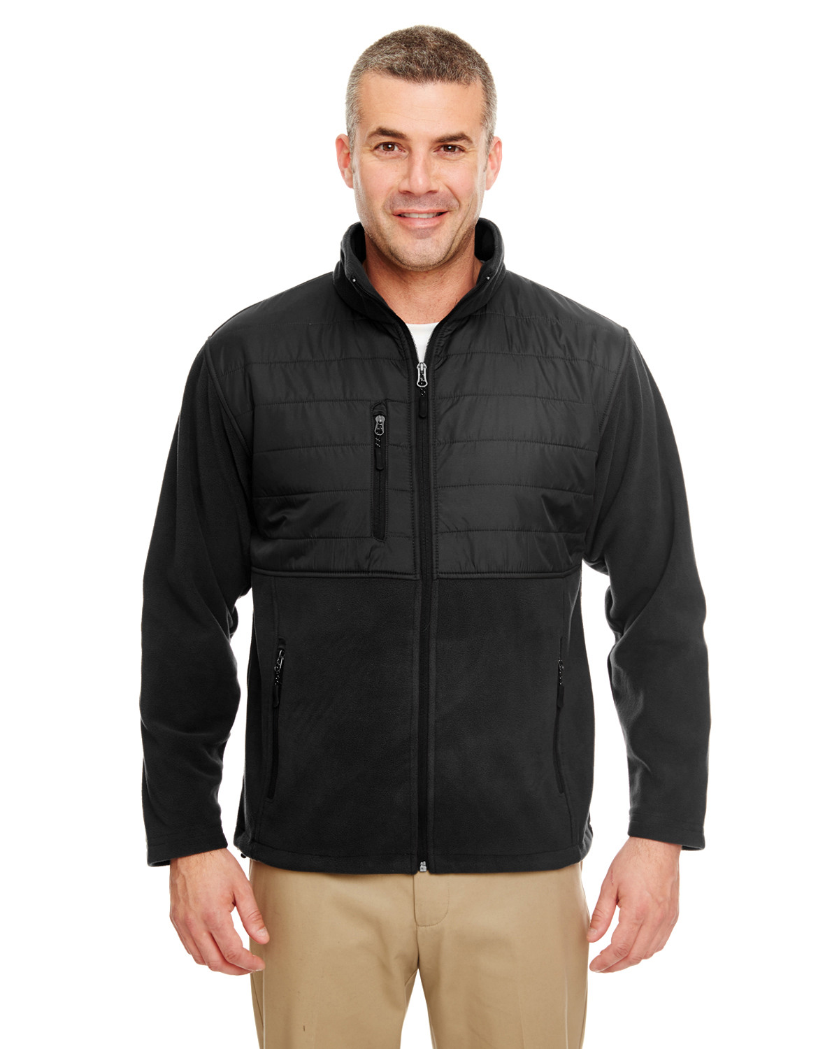 Men's Fleece Jacket with Quilted Yoke Overlay