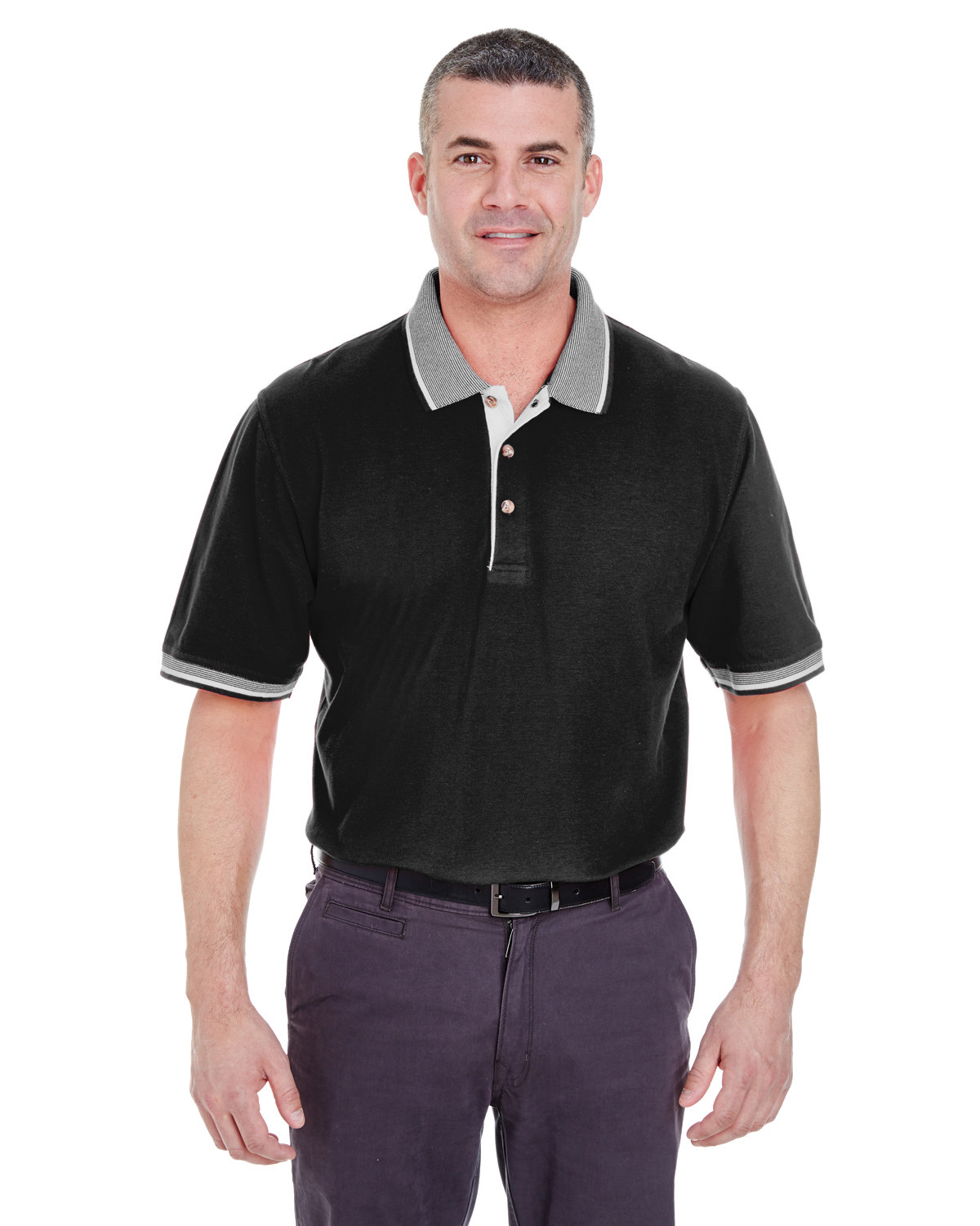 Adult Color-Body Classic Piqué Polo with Contrast Multi-Stripe Trim