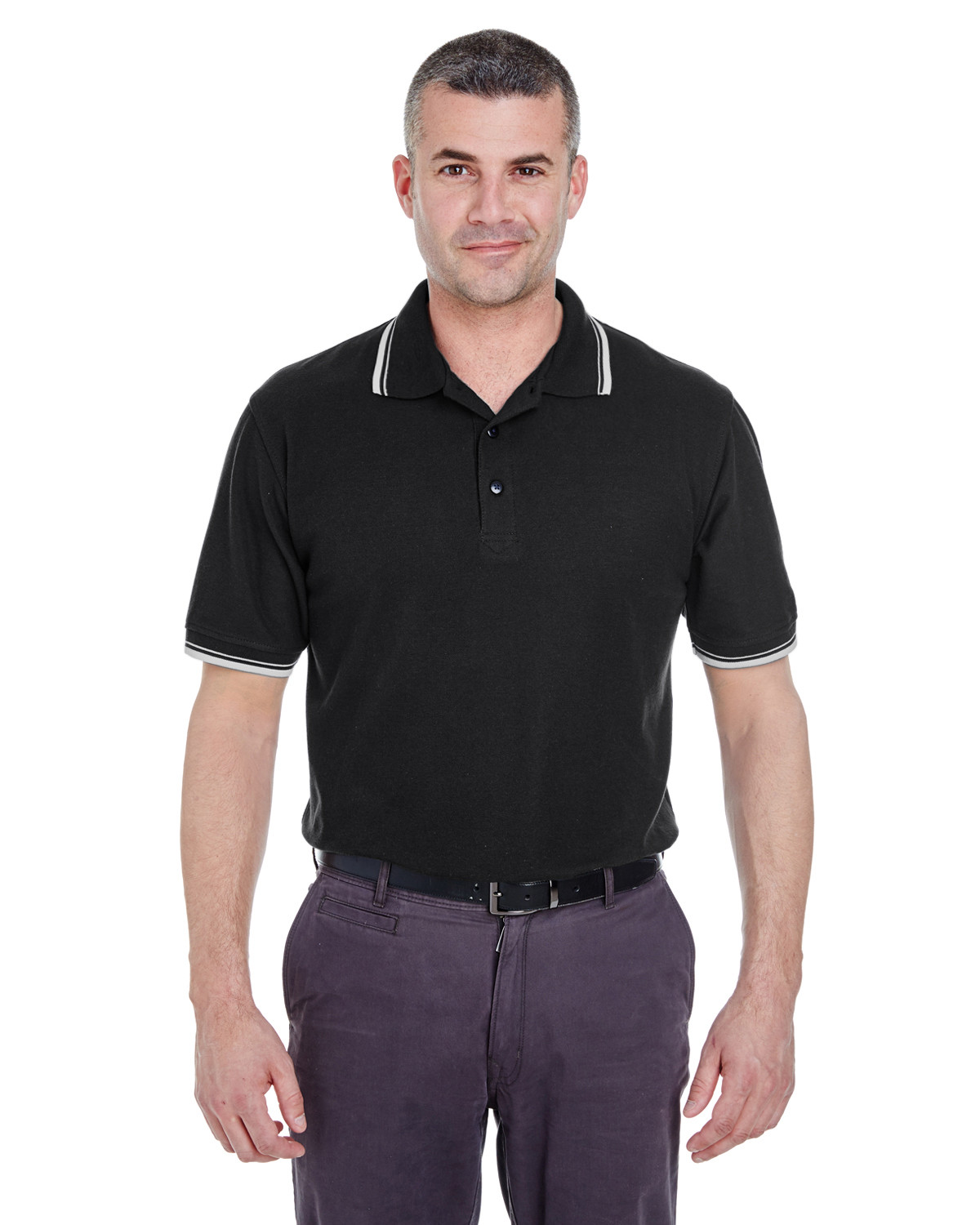 Men's Short-Sleeve Whisper Piqué Polo with Tipped Collar and Cuffs