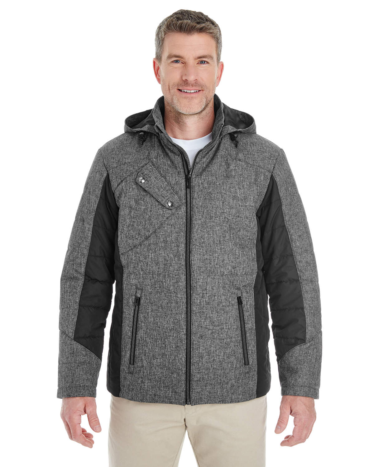 Men's Midtown Insulated Fabric-block Jacket with Crosshatch Melange