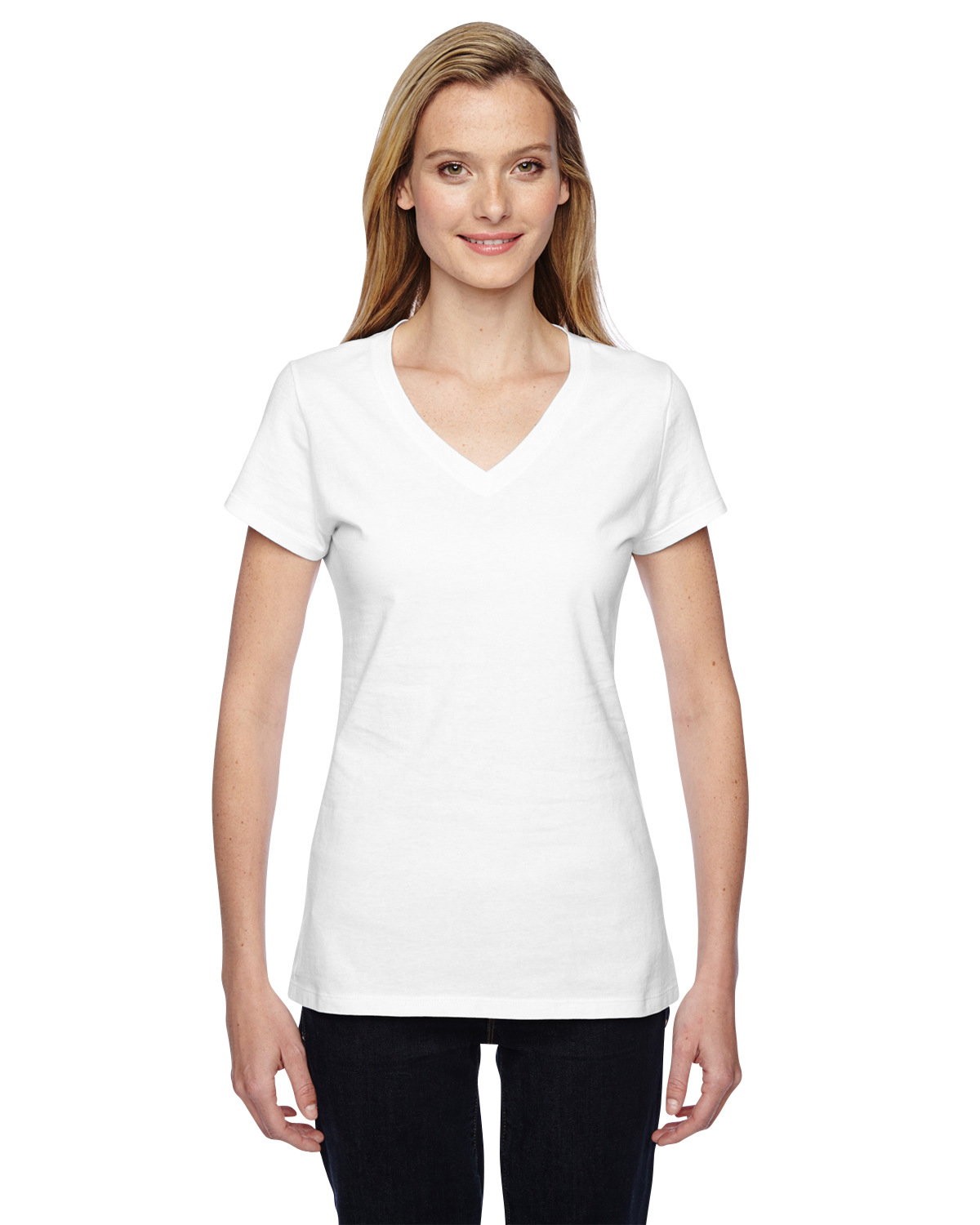 Ladies' 4.7 oz. Sofspun® Jersey Junior V-Neck T-Shirt